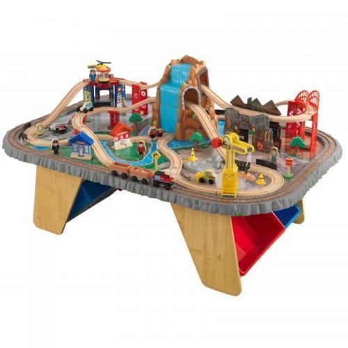 Trenulet din lemn Waterfall Junction si masa de joaca - Jucarii copilasi -