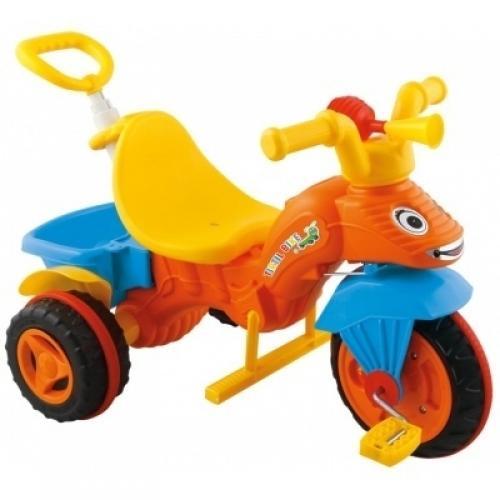 Tricicleta cu maner parental pilsan caterpillar portocalie - Plimbare bebe - Triciclete copii