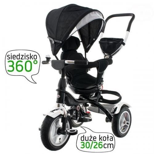 Tricicleta cu sezut reversibil eurobaby t307 - negru - Plimbare bebe - Triciclete copii