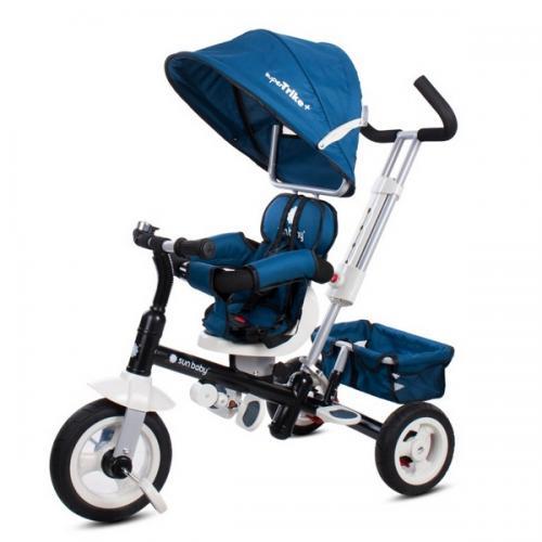 Tricicleta cu sezut reversibil sun baby 002 super trike plus blue - Plimbare bebe - Triciclete copii