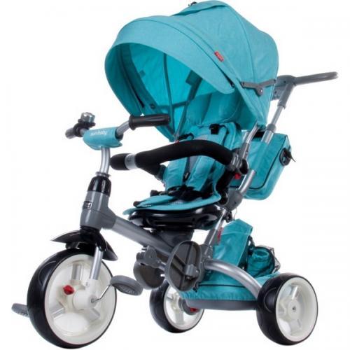 Tricicleta cu sezut reversibil sun baby 007 little tiger - melange turquoise - Plimbare bebe - Triciclete copii