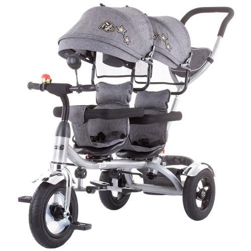 Tricicleta gemeni Chipolino 2Play grey - Plimbare bebe - Triciclete copii
