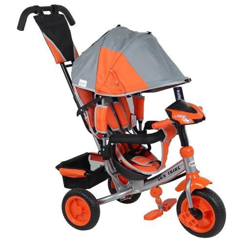 Tricicleta multifunctionala cu sunete si lumini Lux Trike grey-orange - Plimbare bebe - Triciclete copii