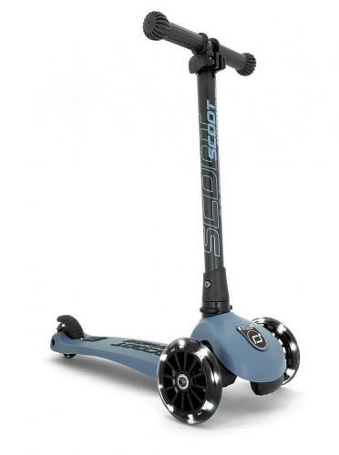 Trotineta copii pliabila cu roti luminoase scoot & ride highwaykick 3 steel blue - 3-6 ani - Plimbare bebe - Trotineta