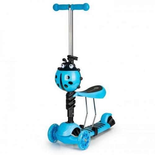 Trotineta cu sezut si 3 roti cu led ecotoys ym-sc-6 - albastru - Plimbare bebe - Trotineta