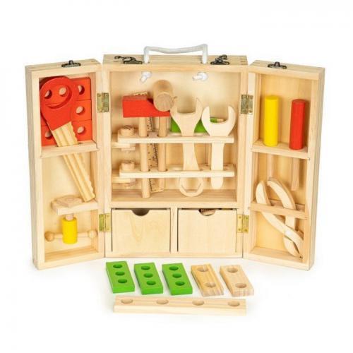 Trusa cu unelte xxl din lemn ecotoys mb028 - Jucarii Montessori -