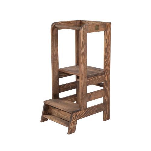 Turn de invatare ajustabil learning tower - ajutor de bucatarie meowbaby® - lemn maro inchis - Camera bebelusului - Mobilier bebe