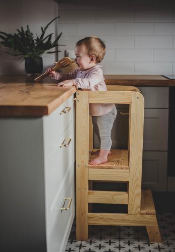 Turn de invatare ajustabil learning tower - ajutor de bucatarie meowbaby® - lemn natural - Camera bebelusului - Mobilier bebe
