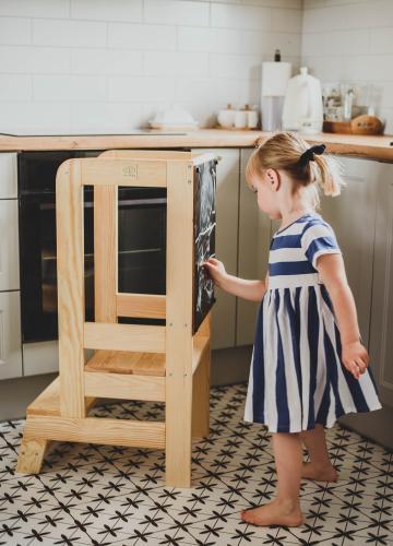 Turn de invatare ajustabil learning tower cu tabla de scris - ajutor de bucatarie meowbaby® - lemn natural - Camera bebelusului - Mobilier bebe