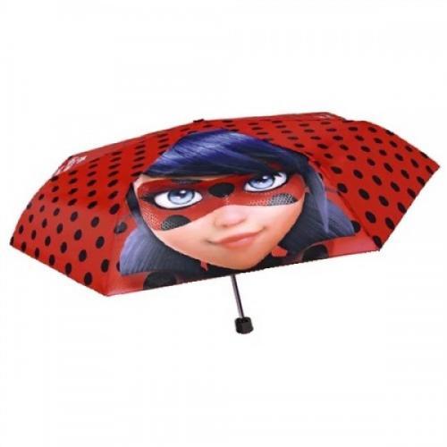 Umbrela manuala 50 cm cu inchidere cu siguranta si protectie pentru vant Miraculous Lady Bug - Plimbare bebe - Genti carucioar