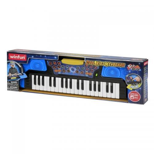 Winfun - Orga electronica copii Superkeyboard Blue cu functie inregistrare - Jucarii bebelusi - Jucarie muzicala
