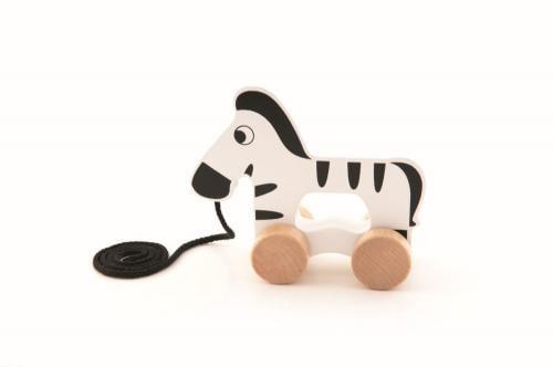 Zebra din lemn cu roti si snur - Jucarii Montessori -
